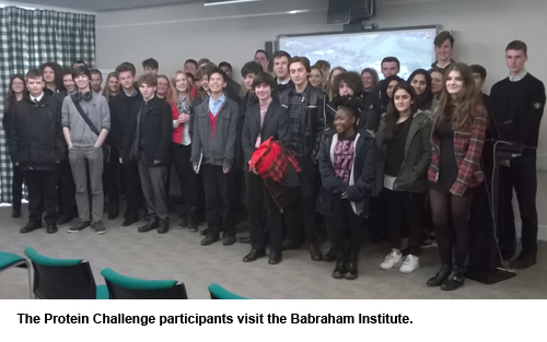 The Protein Challenge participants visit the Babraham Institute.